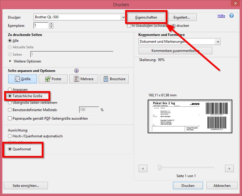 DHL Paketetiketten für Brother oder Dymo Labelprinter aufbereiten