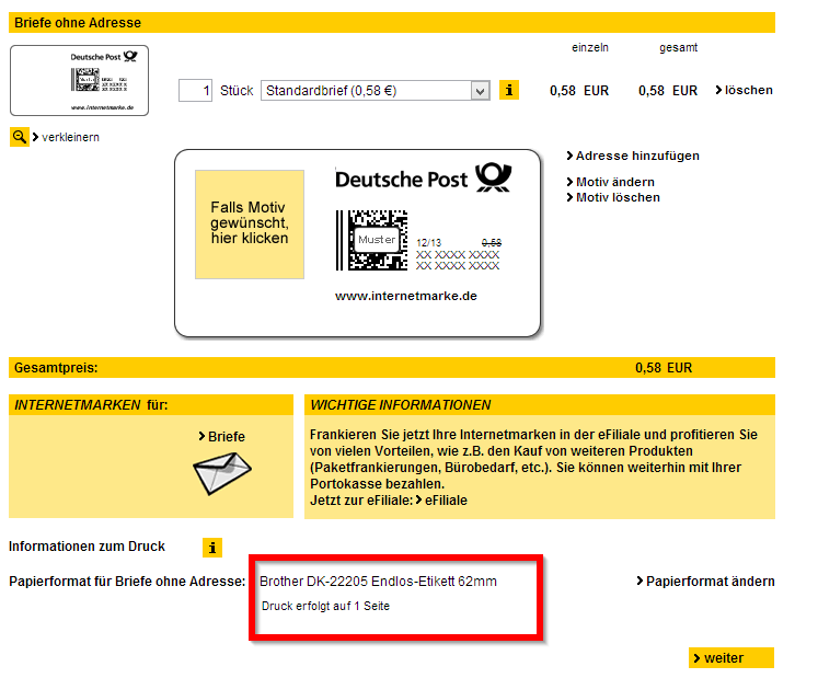 Deutsche Post - -Versandlösung Internetmarke Partner